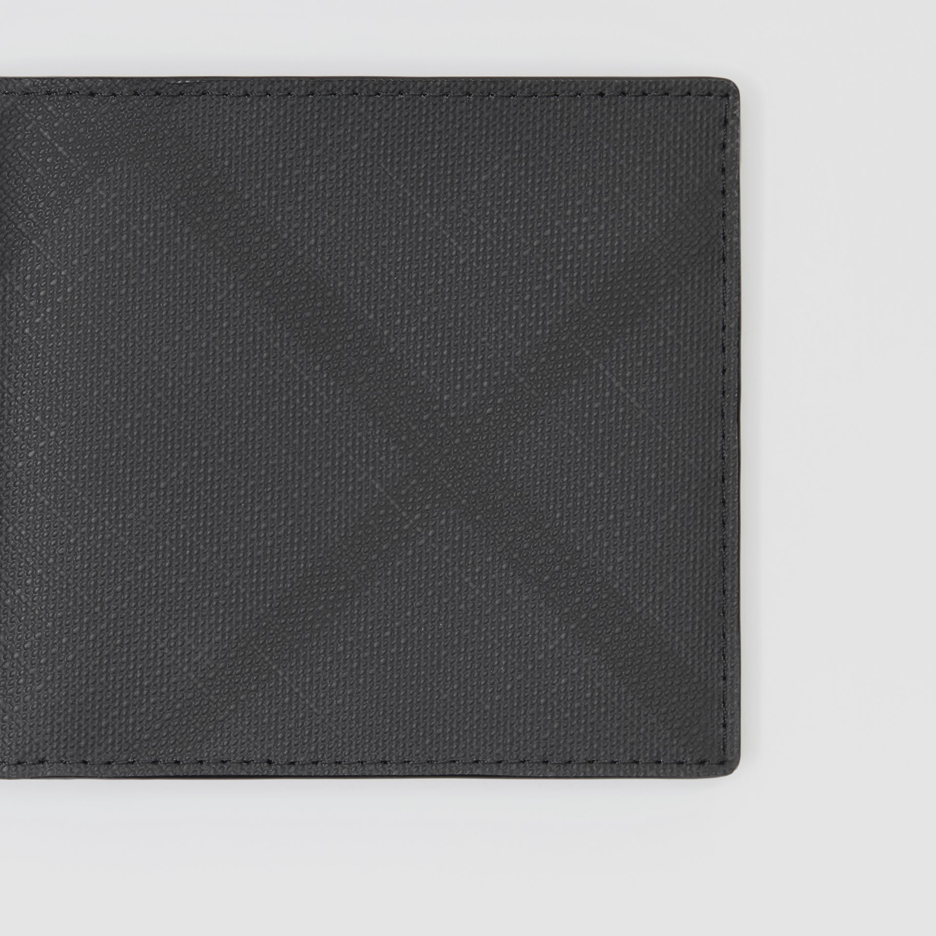London Check and Leather International Bifold Wallet in Dark Charcoal - Men | Burberry - gallery image 1