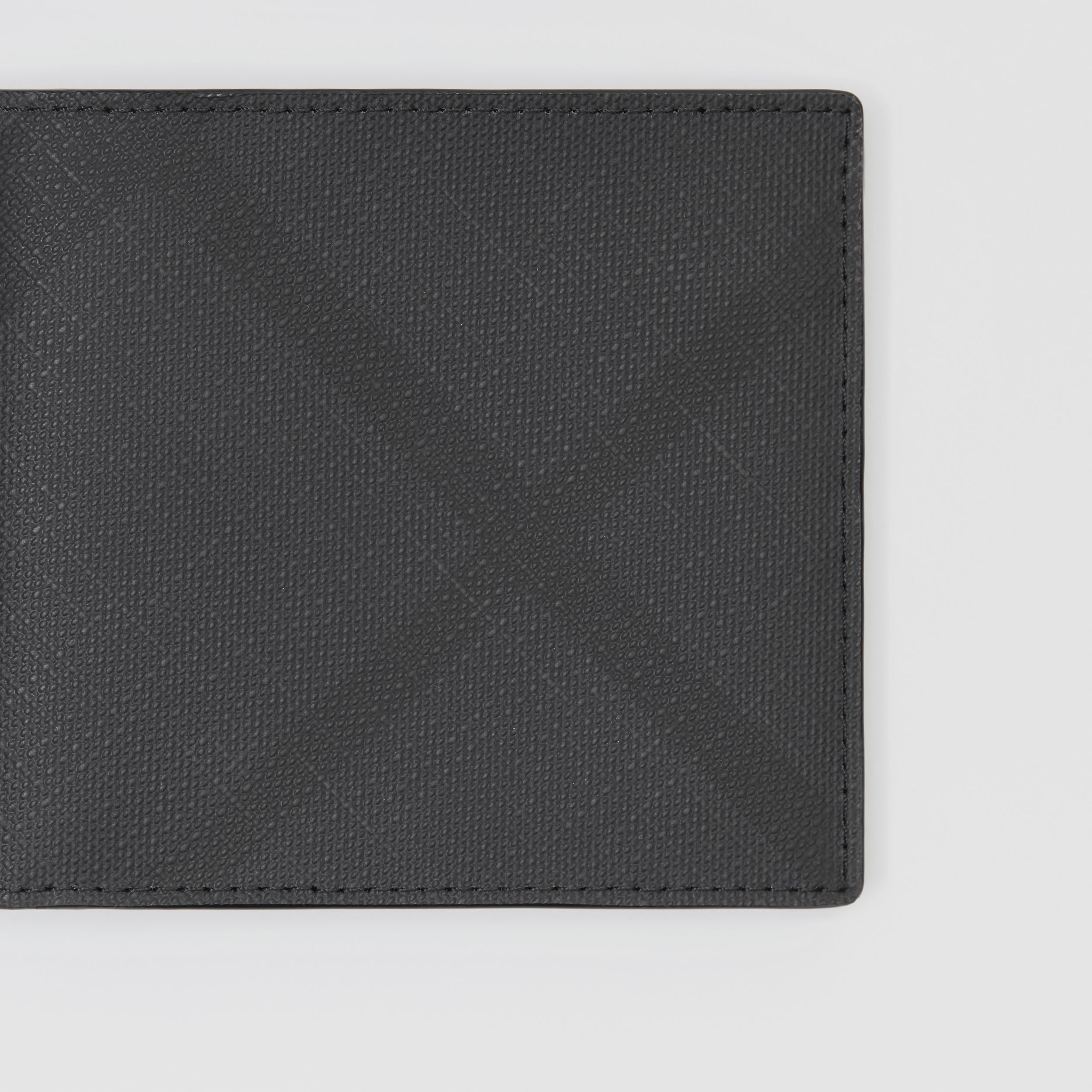 London Check and Leather International Bifold Wallet in Dark Charcoal - Men | Burberry - 2