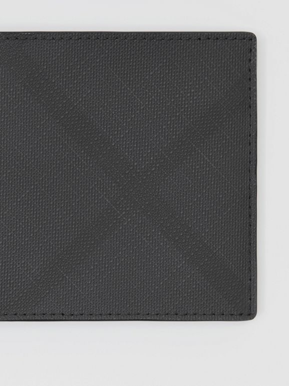 London Check and Leather International Bifold Wallet in Dark Charcoal - Men | Burberry - cell image 1