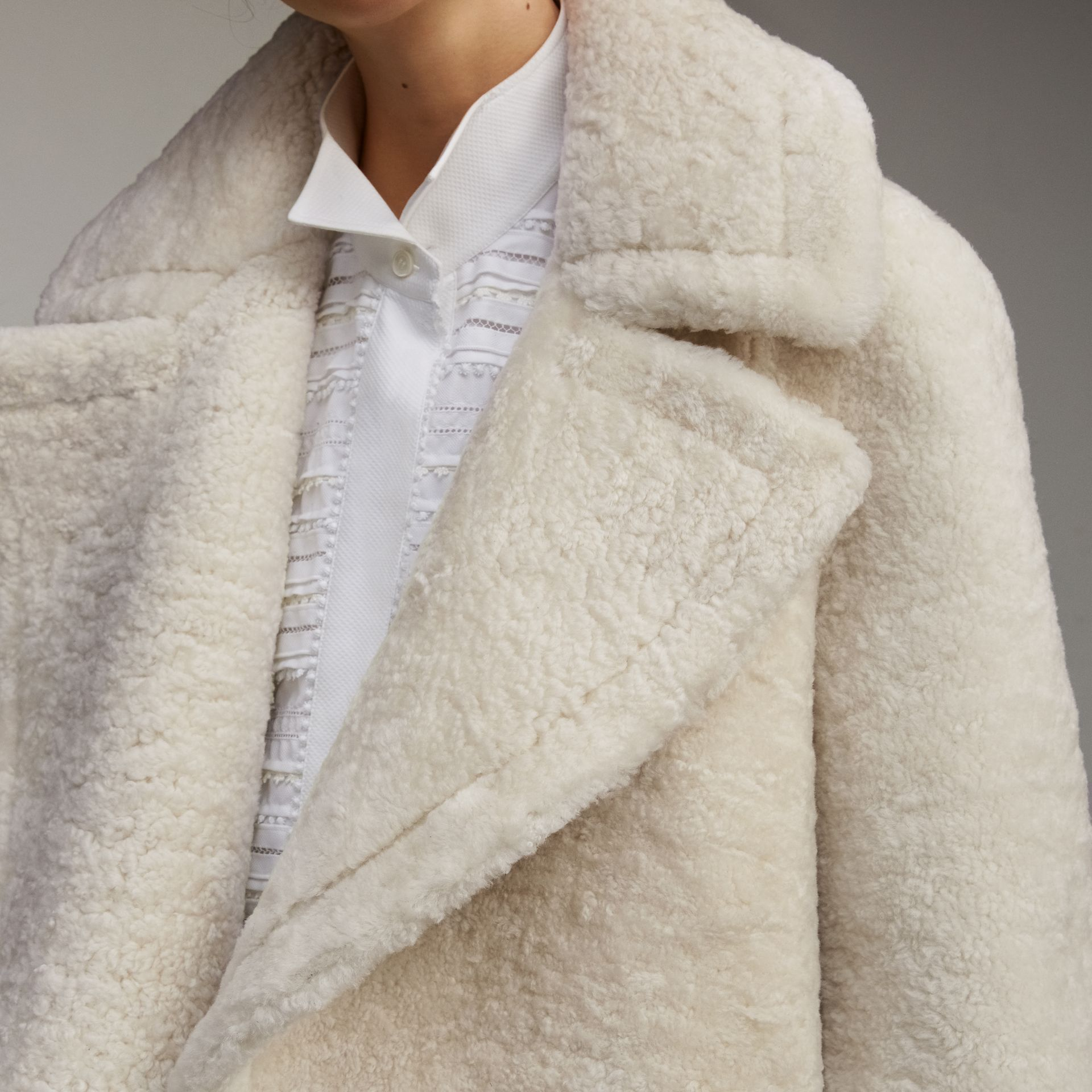 Oversize Collar Teddy Shearling Pea Coat - Women | Burberry - gallery image 5