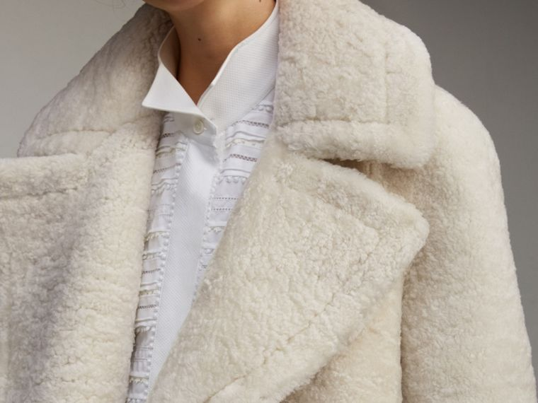 Oversize Collar Teddy Shearling Pea Coat in White - Women | Burberry - cell image 4