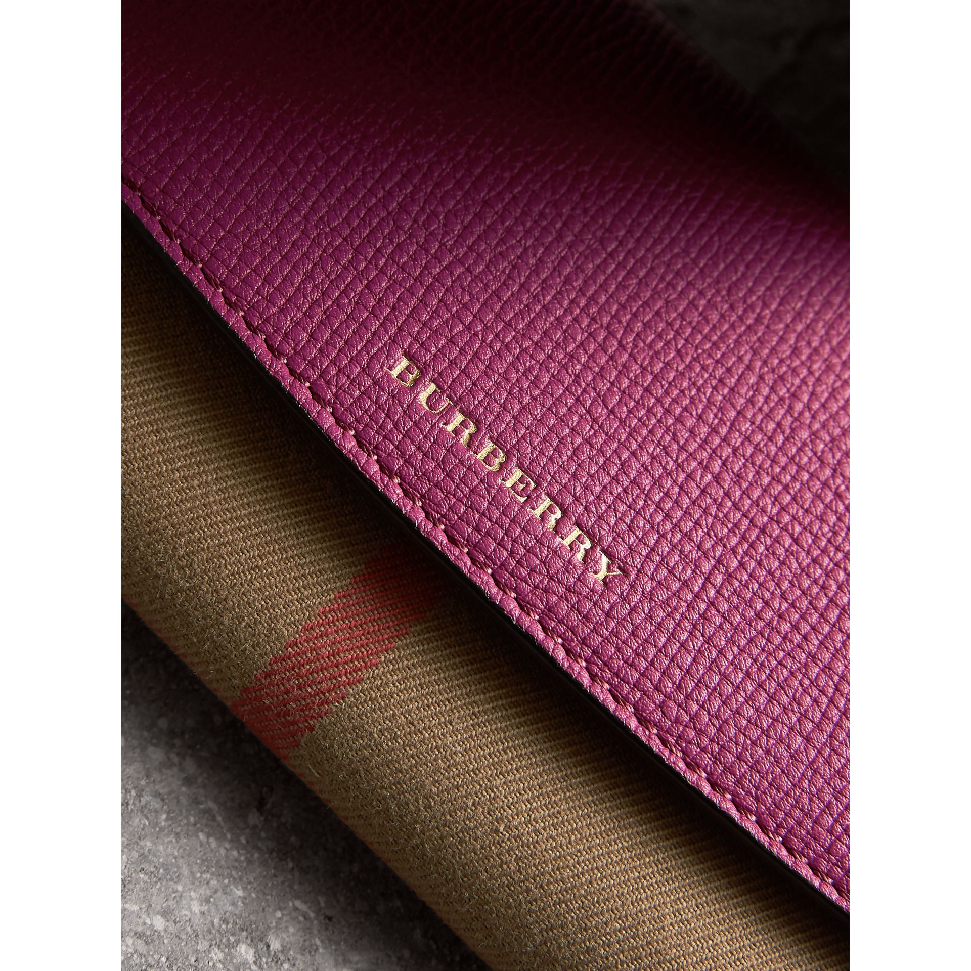 House Check and Leather Continental Wallet in Brilliant Fuchsia - Women | Burberry - gallery image 4