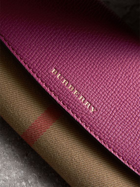 House Check and Leather Continental Wallet in Brilliant Fuchsia - Women | Burberry - cell image 3