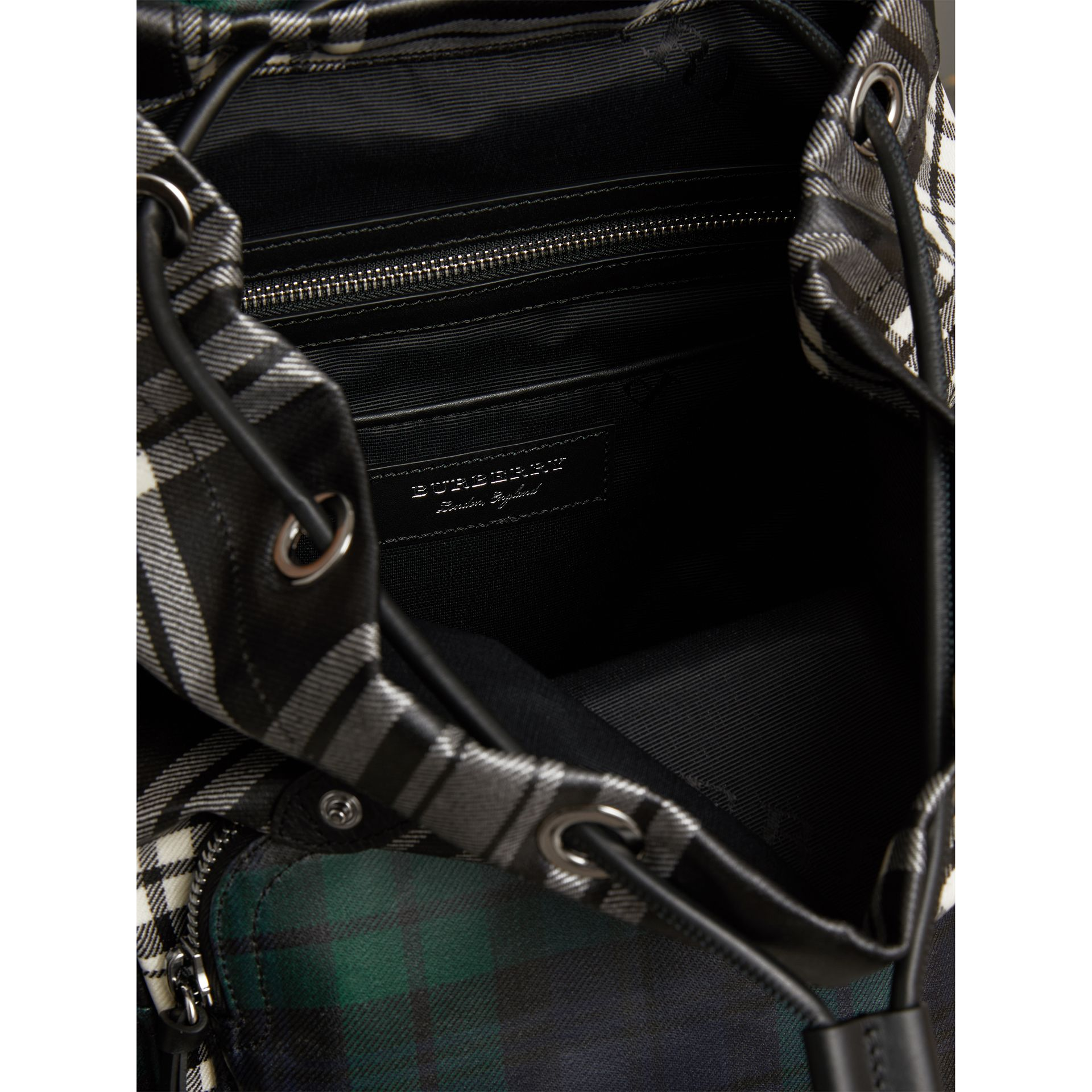 The Medium Rucksack in Laminated Tartan in Black/white - Women | Burberry - gallery image 4