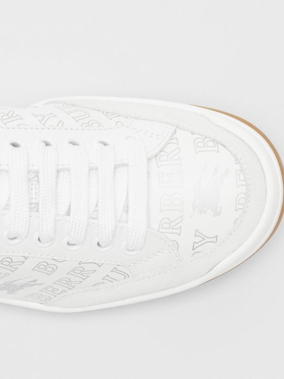 Metallic Logo Print Leather Sneakers in Optic White/silver - Women | Burberry - cell image 1