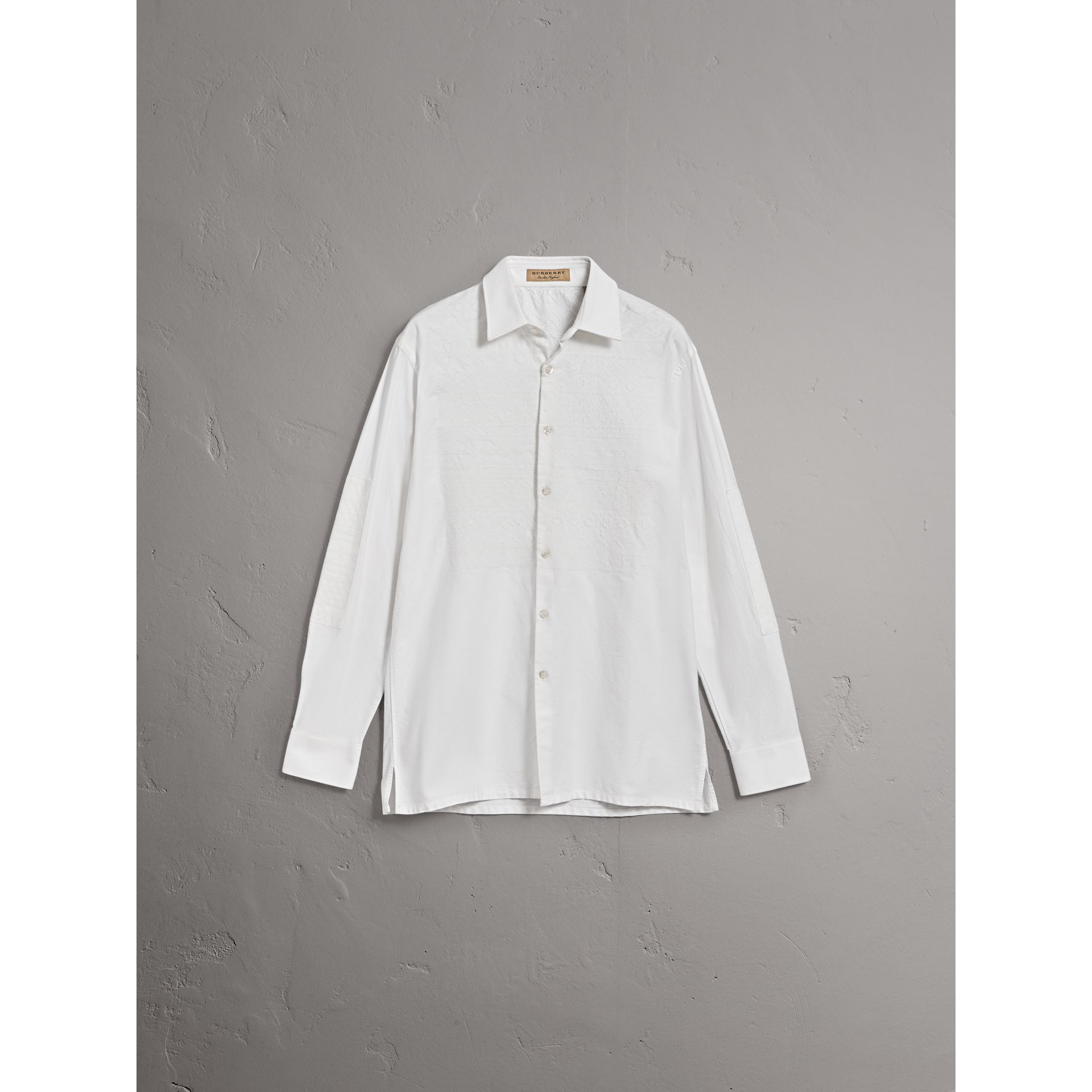 Embroidered Oxford Cotton Longline Shirt in White - Men | Burberry Canada - gallery image 3