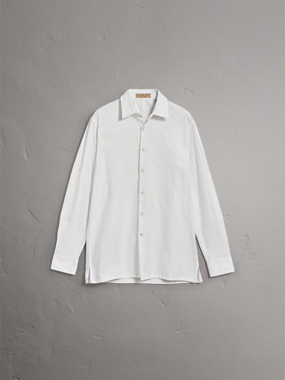 Embroidered Oxford Cotton Longline Shirt in White - Men | Burberry Singapore - cell image 3
