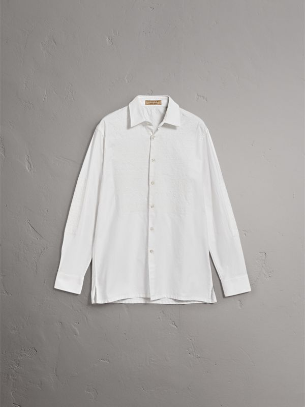 Embroidered Oxford Cotton Longline Shirt in White - Men | Burberry - cell image 3