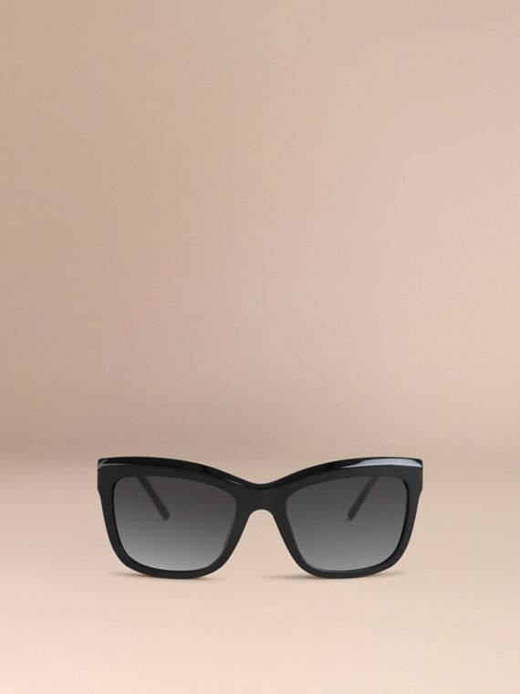 Black Gabardine Lace Collection Square Frame Sunglasses Black - cell image 2