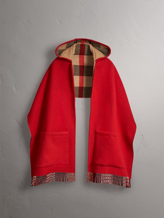 Check-lined Wool Cashmere Hooded Stole in Military Red/camel - Women | Burberry Hong Kong - cell image 3