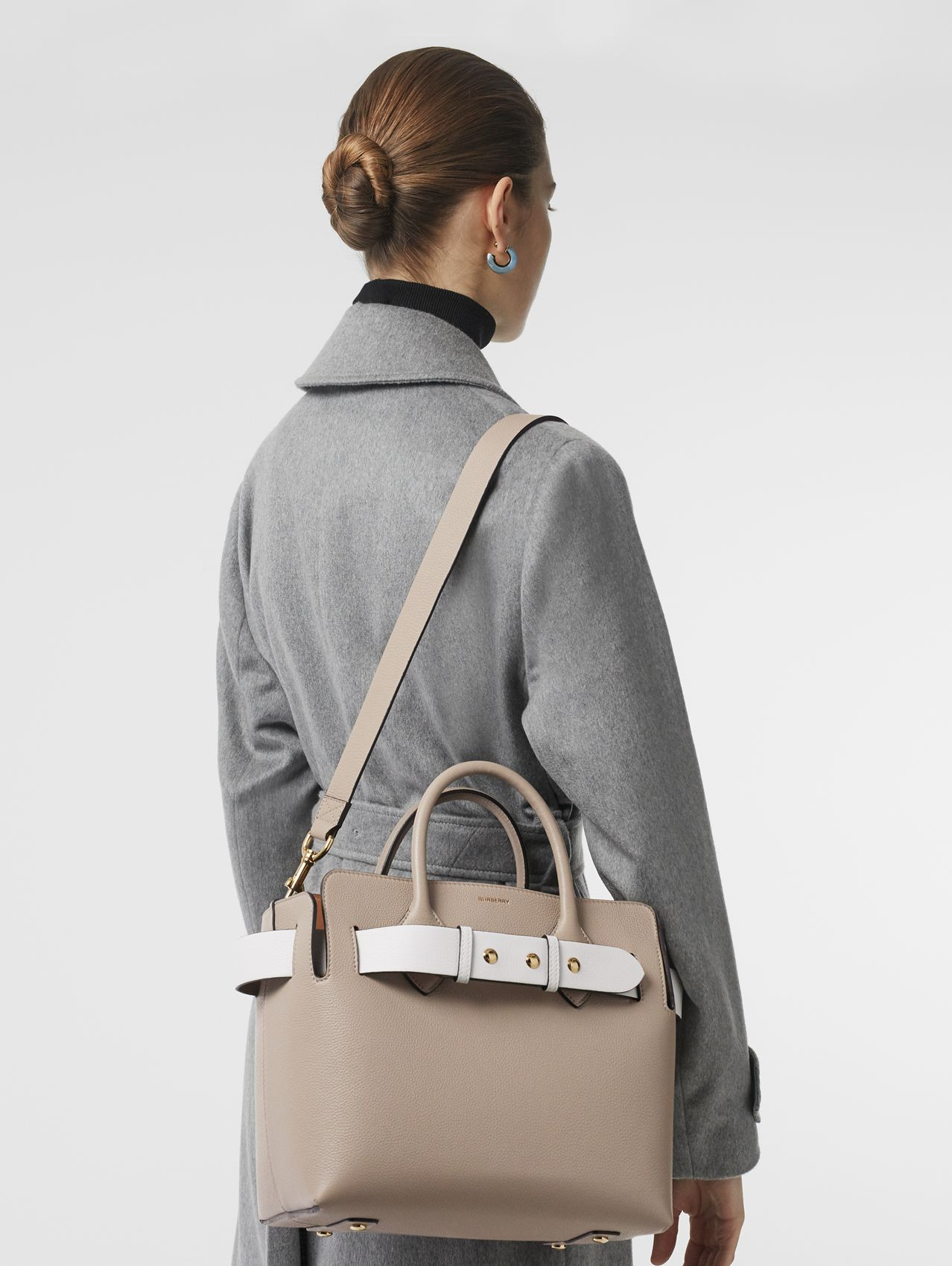 The Small Tri-tone Leather Triple Stud Belt Bag in Mineral Grey