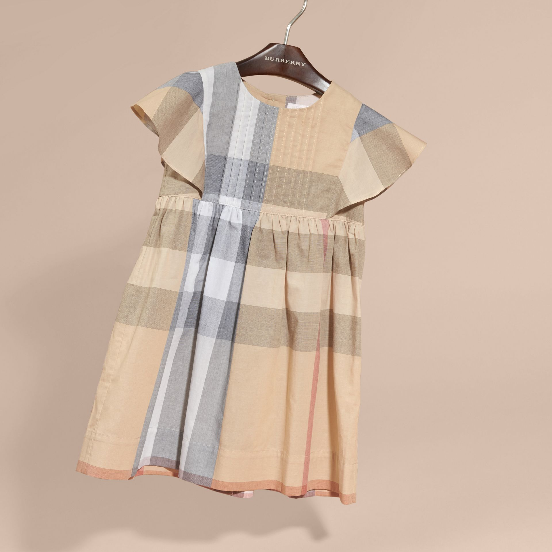Ruffle Detail Check Cotton Dress in Pale Stone - Girl | Burberry Australia - gallery image 3