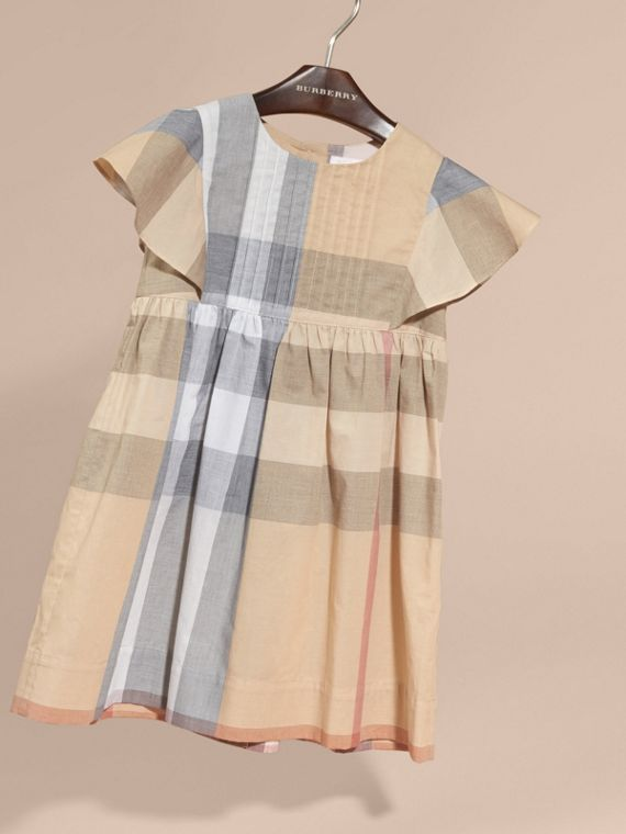 Ruffle Detail Check Cotton Dress in Pale Stone - Girl | Burberry Australia - cell image 2