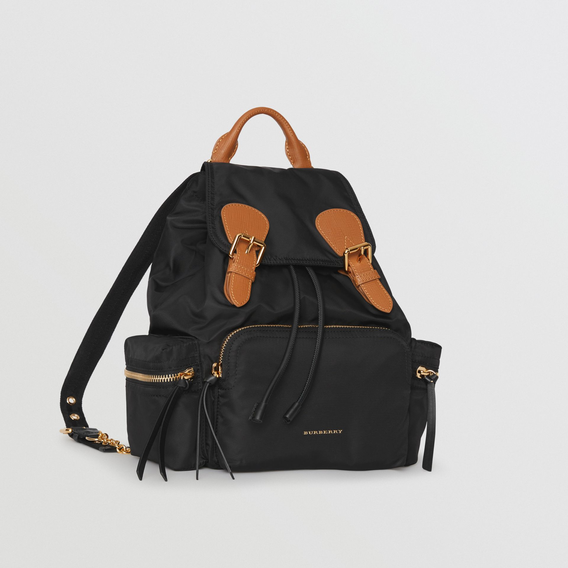 22a44f05b606 The Medium Rucksack in Technical Nylon and Leather in Black - Women ...