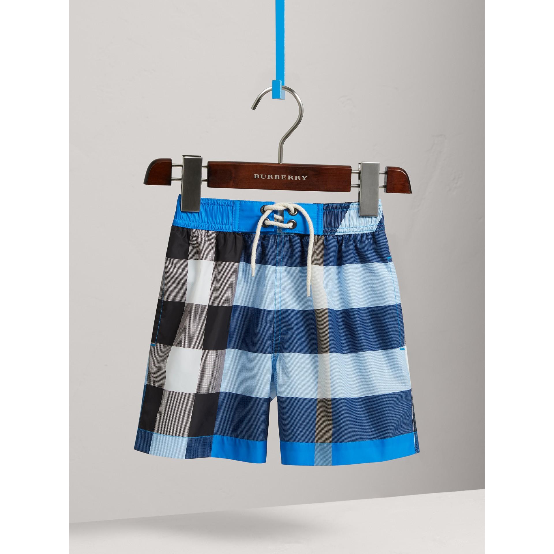 Check Swim Shorts in Cerulean Blue - Boy | Burberry United Kingdom - gallery image 0