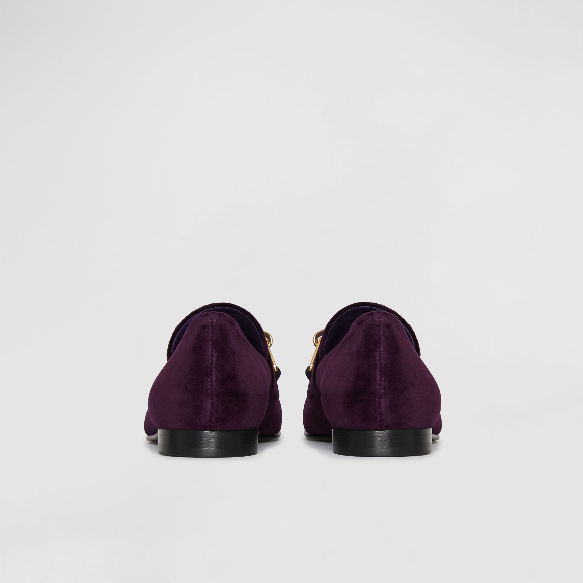 Link Detail Velvet Loafers in Dark Elderberry - Women | Burberry Australia - gallery image 4