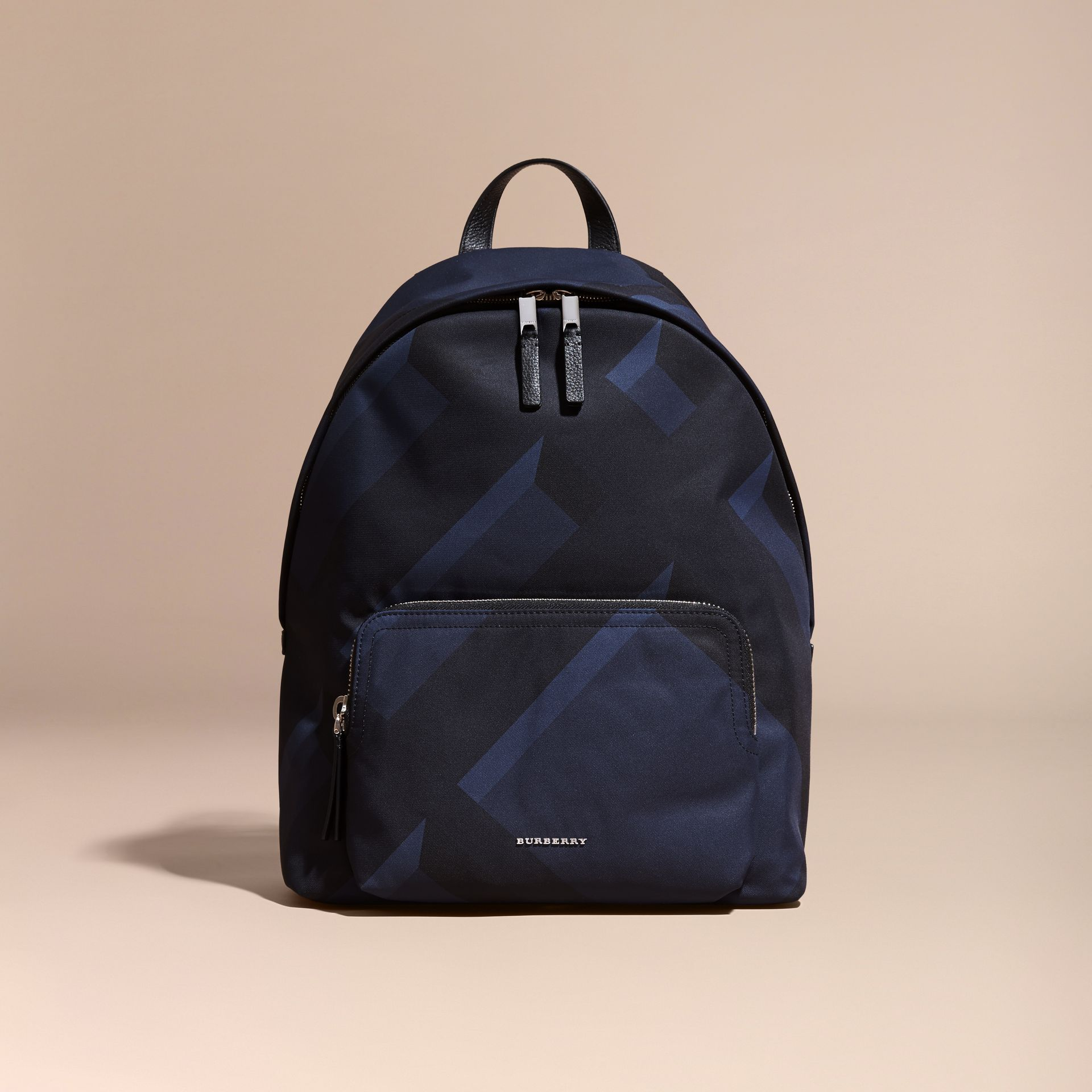 Navy check Leather Trim Check Print Backpack - gallery image 8