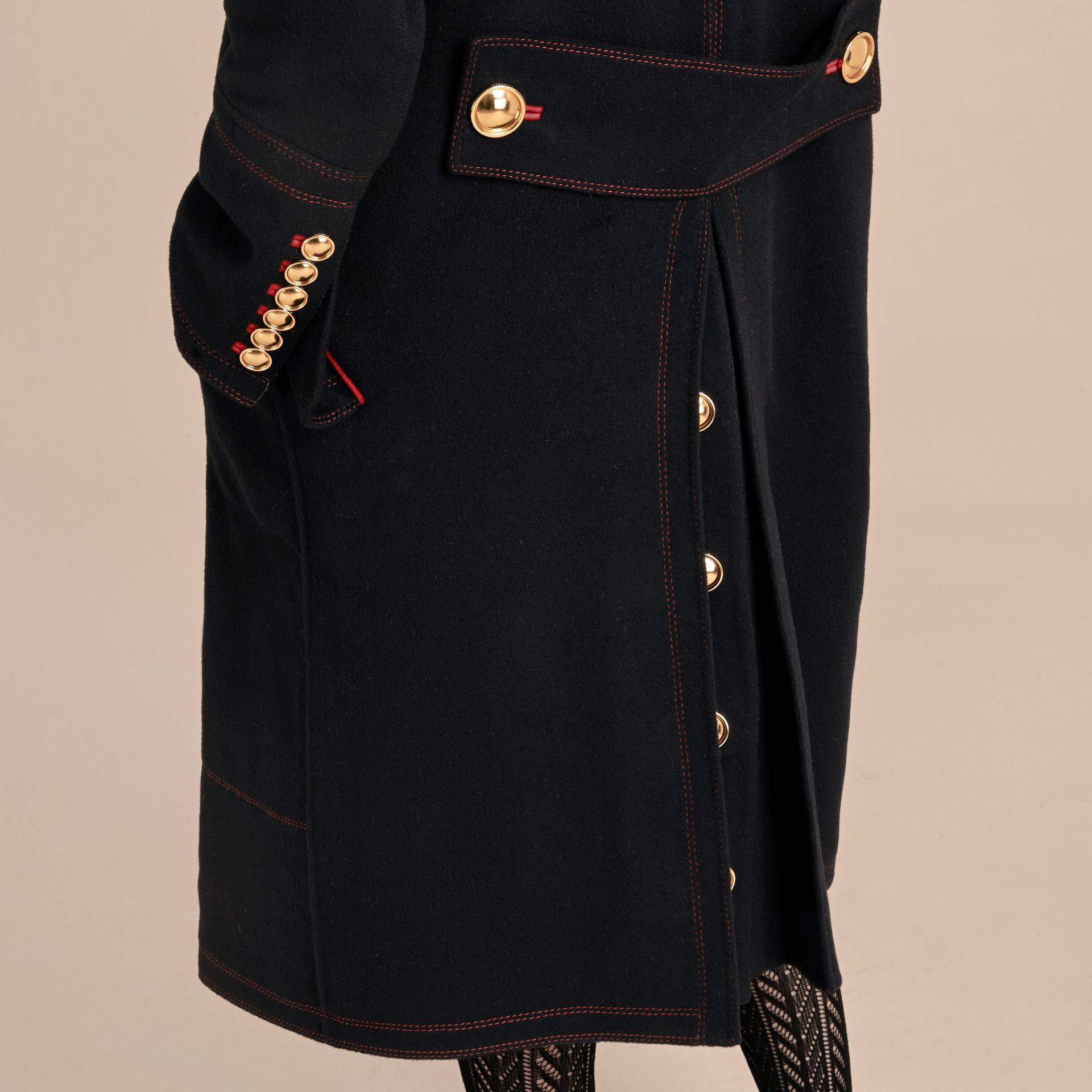 Black Double-breasted Wool Cashmere Military Coat - gallery image 6