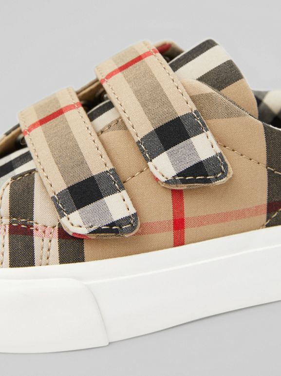 Vintage Check Cotton Sneakers in Archive Beige - Children | Burberry - cell image 1