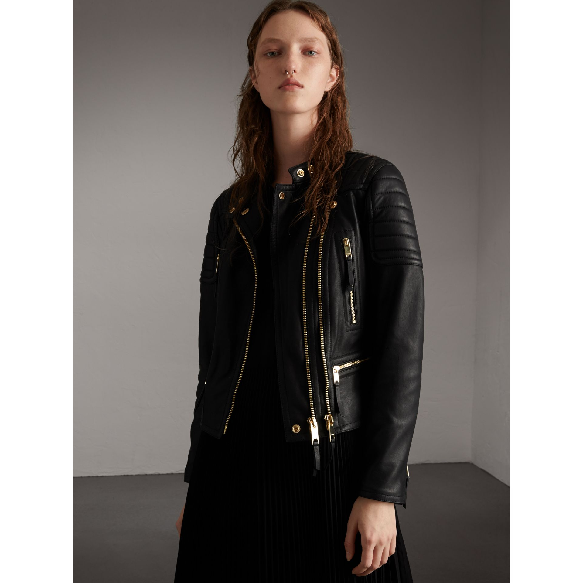 Quilted Panel Lambskin Biker Jacket in Black - Women | Burberry - gallery image 1