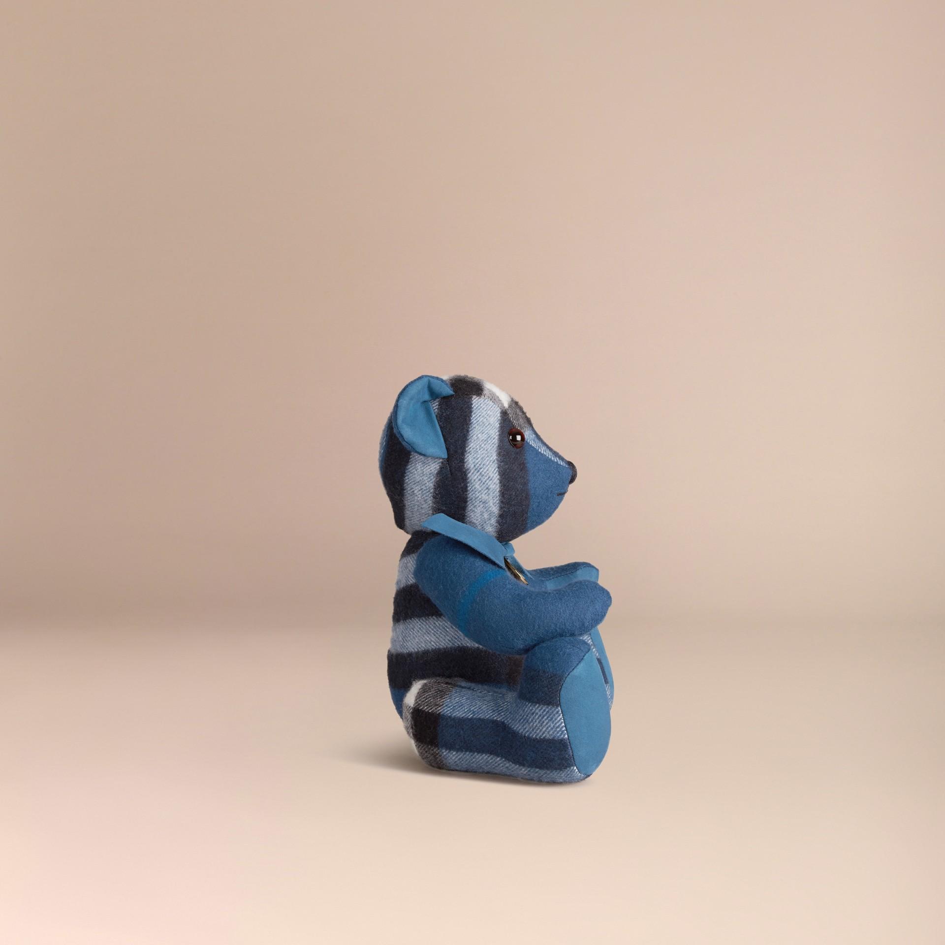 Azul mar Osito de peluche Thomas en cachemir de checks Azul Mar - imagen de la galería 3