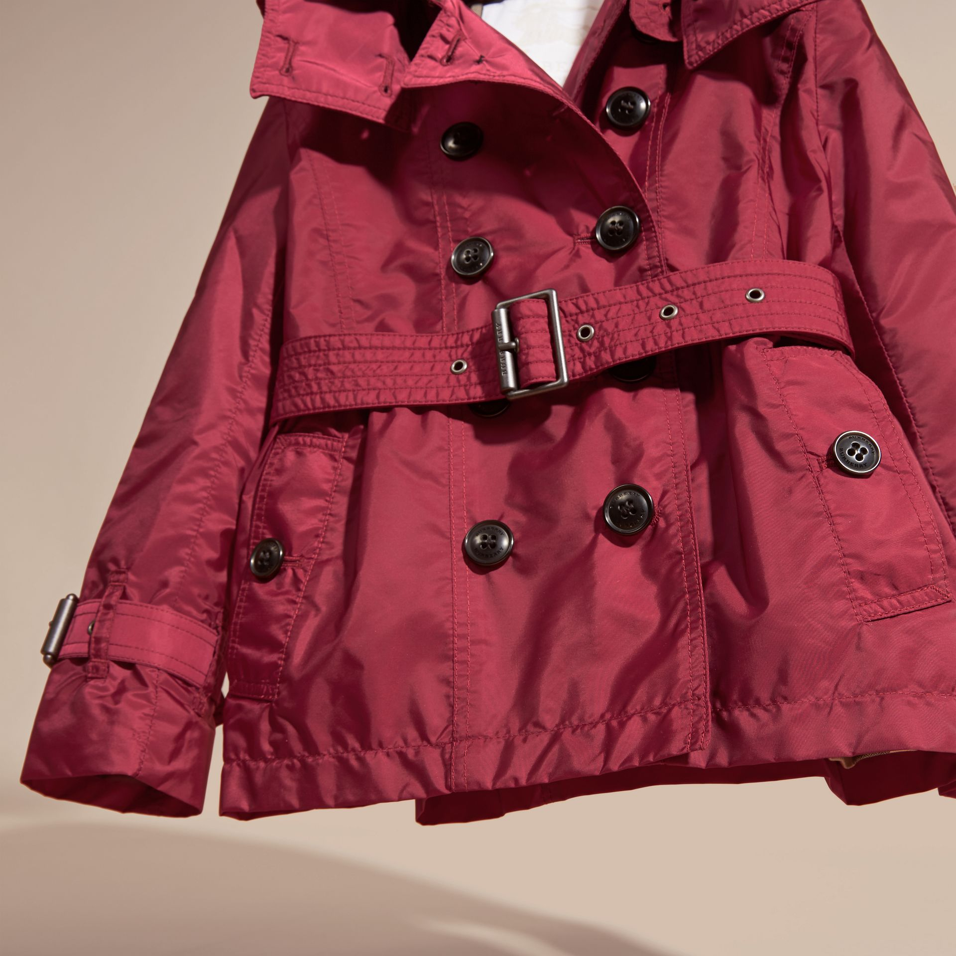 Dark plum pink Technical Detachable Hood Trench Coat - gallery image 3