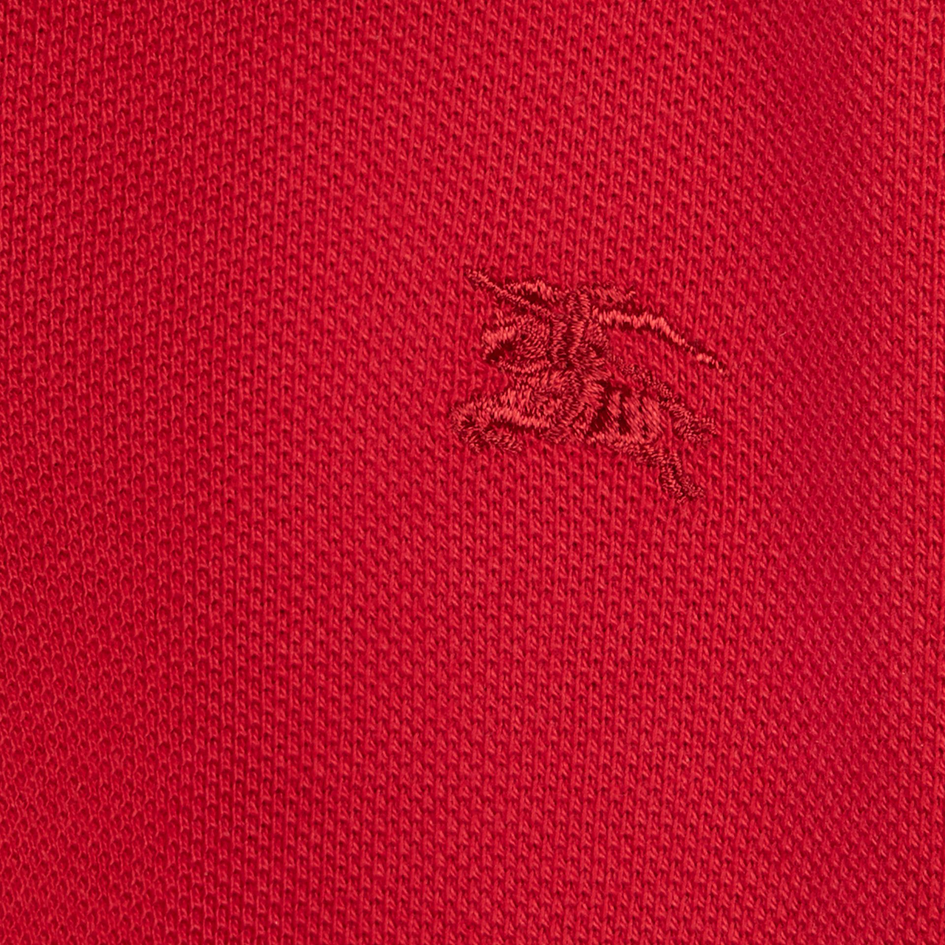 Check Placket Polo Shirt in Military Red - gallery image 2