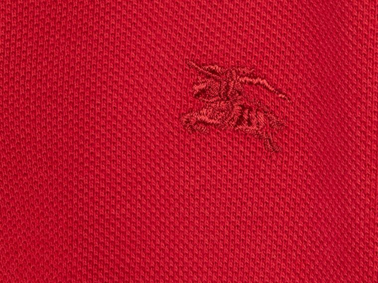 Check Placket Polo Shirt in Military Red - cell image 1