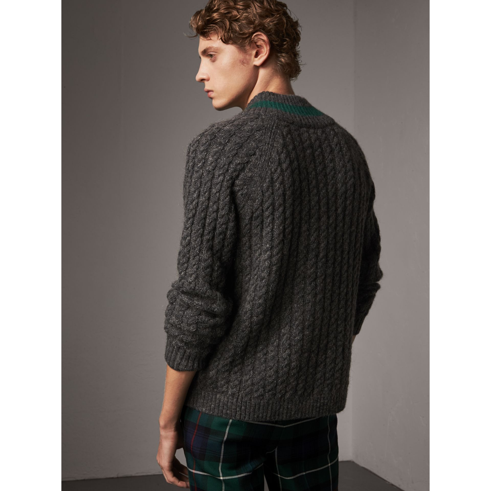 Cashmere Blend Cricket Sweater in Charcoal - Men | Burberry Australia - gallery image 3