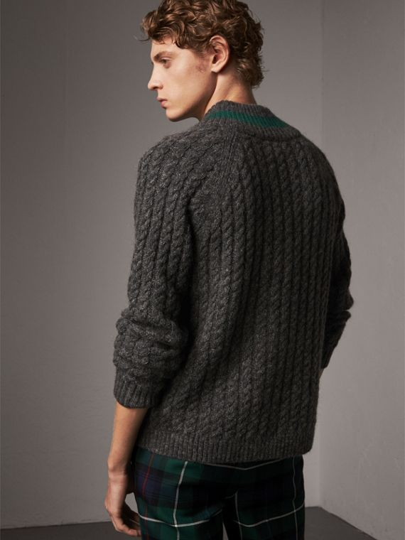 Cashmere Blend Cricket Sweater in Charcoal - Men | Burberry Australia - cell image 2