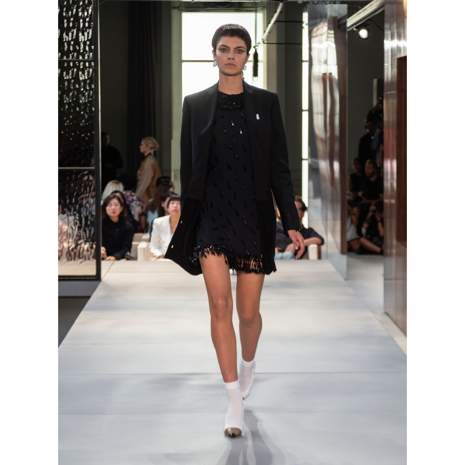 Long-sleeve Embellished Mini Dress in Black - Women | Burberry Hong Kong - gallery image 7