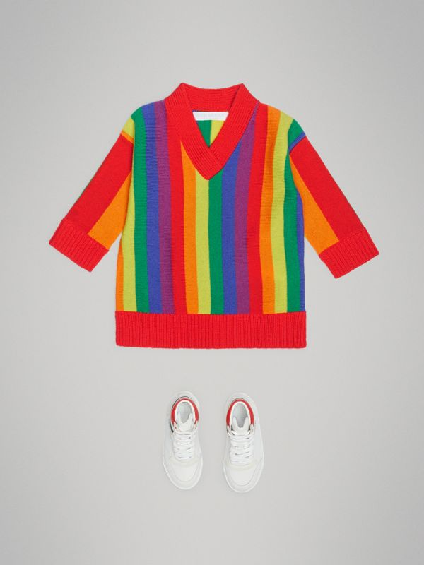 Striped Wool Cashmere Sweater Dress in Multicolour - Children | Burberry United Kingdom - cell image 2