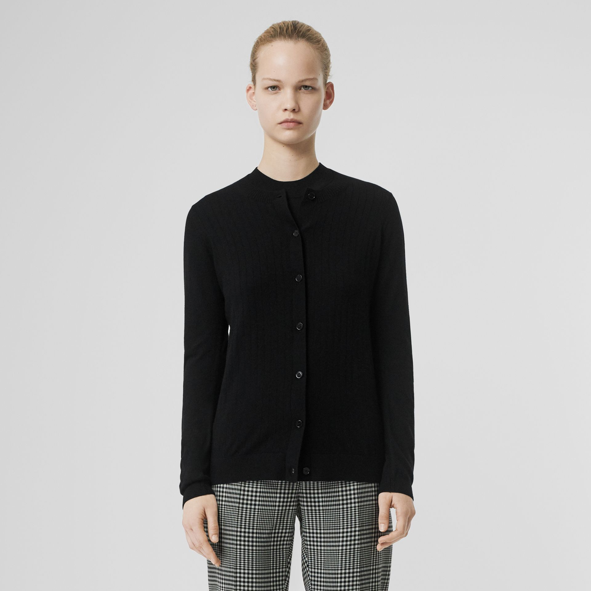 Rib Knit Cashmere Cardigan in Black - Women | Burberry - gallery image 6