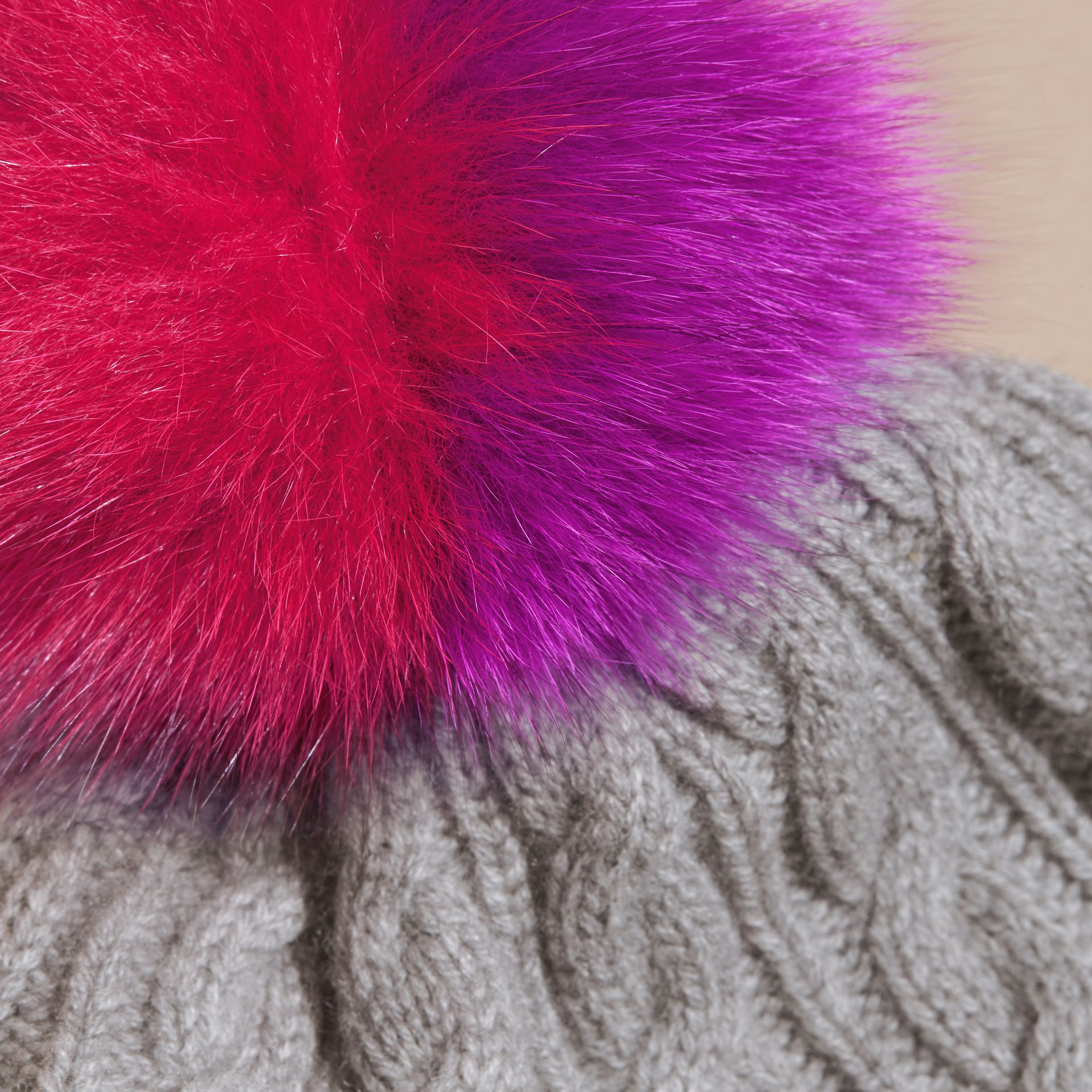 Grey melange Wool Cashmere Beanie with Fur Pom-Pom Grey Melange - gallery image 3