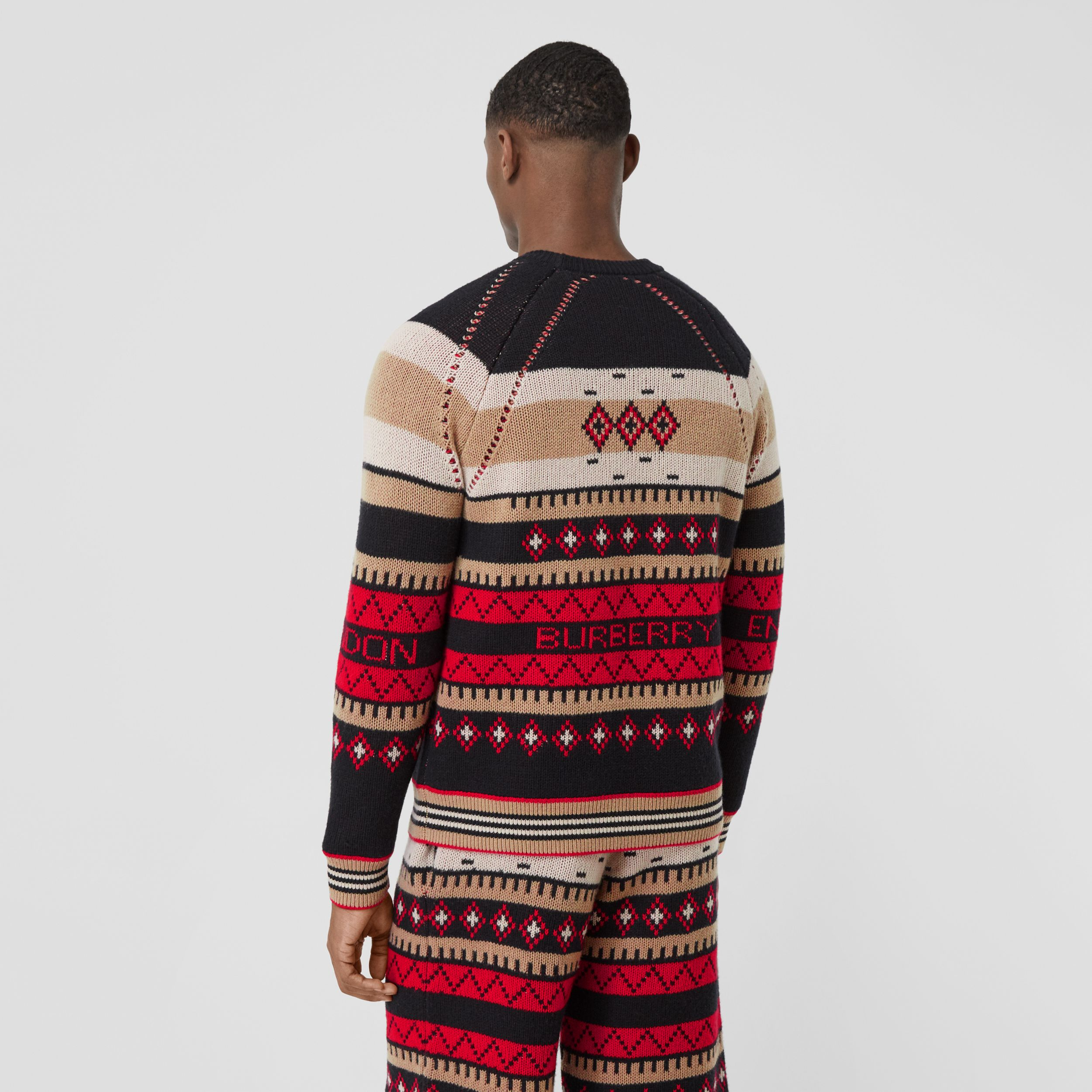 Icon Stripe Detail Fair Isle Cashmere Sweater in Black - Men | Burberry - 3