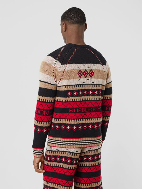 Icon Stripe Detail Fair Isle Cashmere Sweater in Black - Men | Burberry - cell image 2