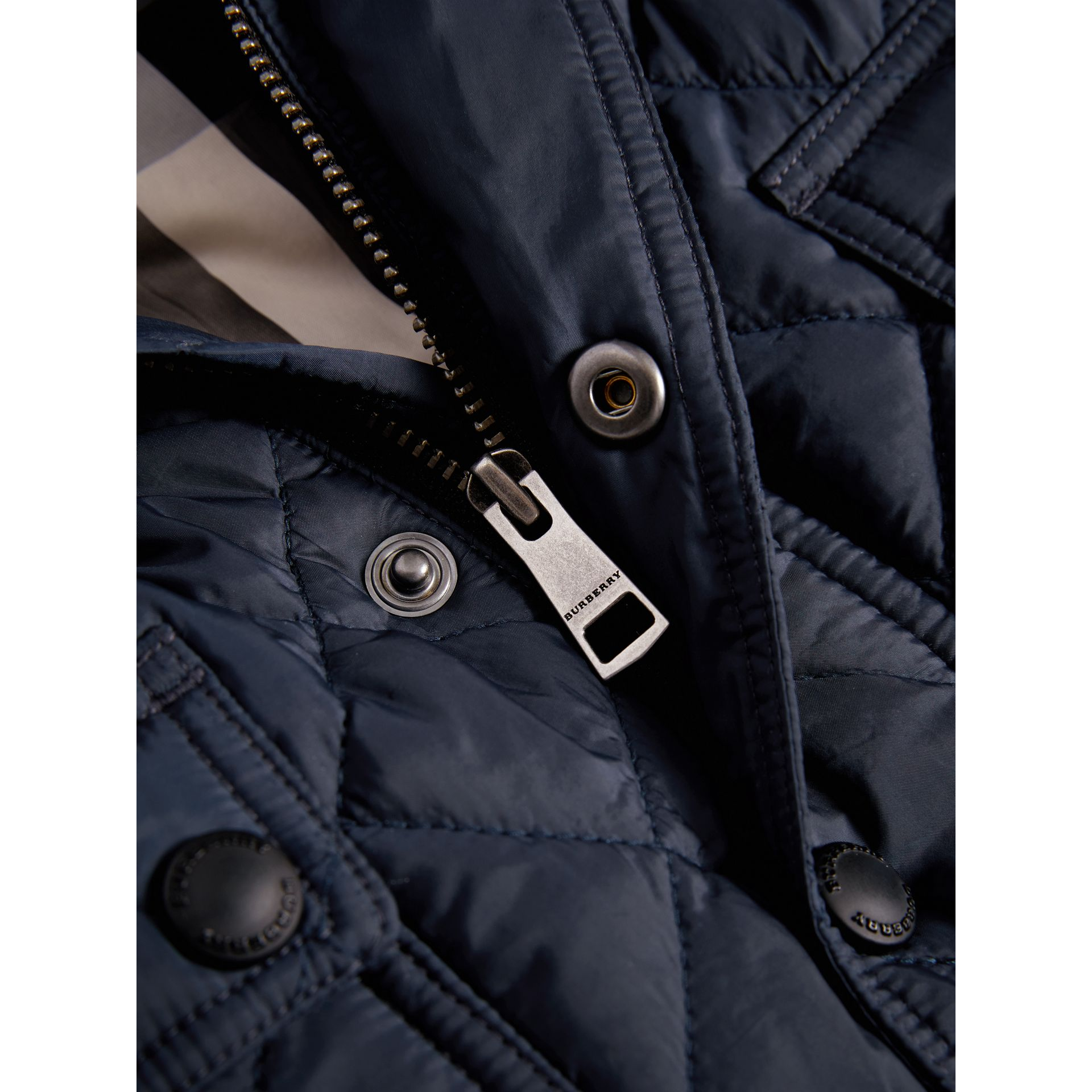 Check Detail Diamond-quilted Jacket in Ink Blue | Burberry - gallery image 1