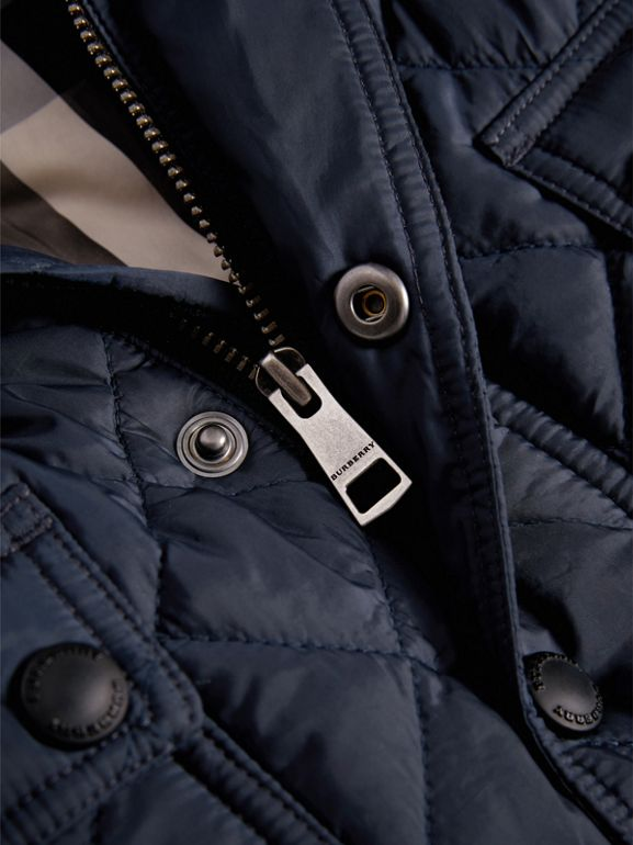 Check Detail Diamond-quilted Jacket in Ink Blue | Burberry - cell image 1