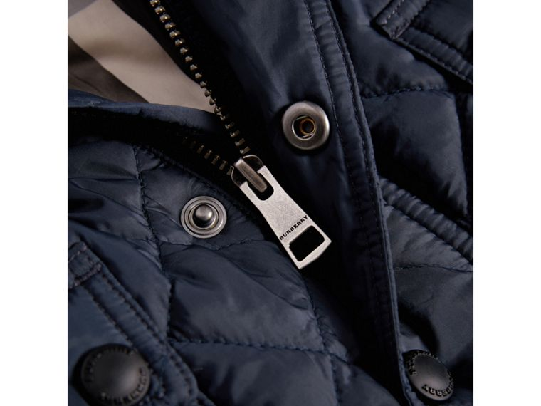 Check Detail Diamond-quilted Jacket in Ink Blue | Burberry Australia - cell image 1