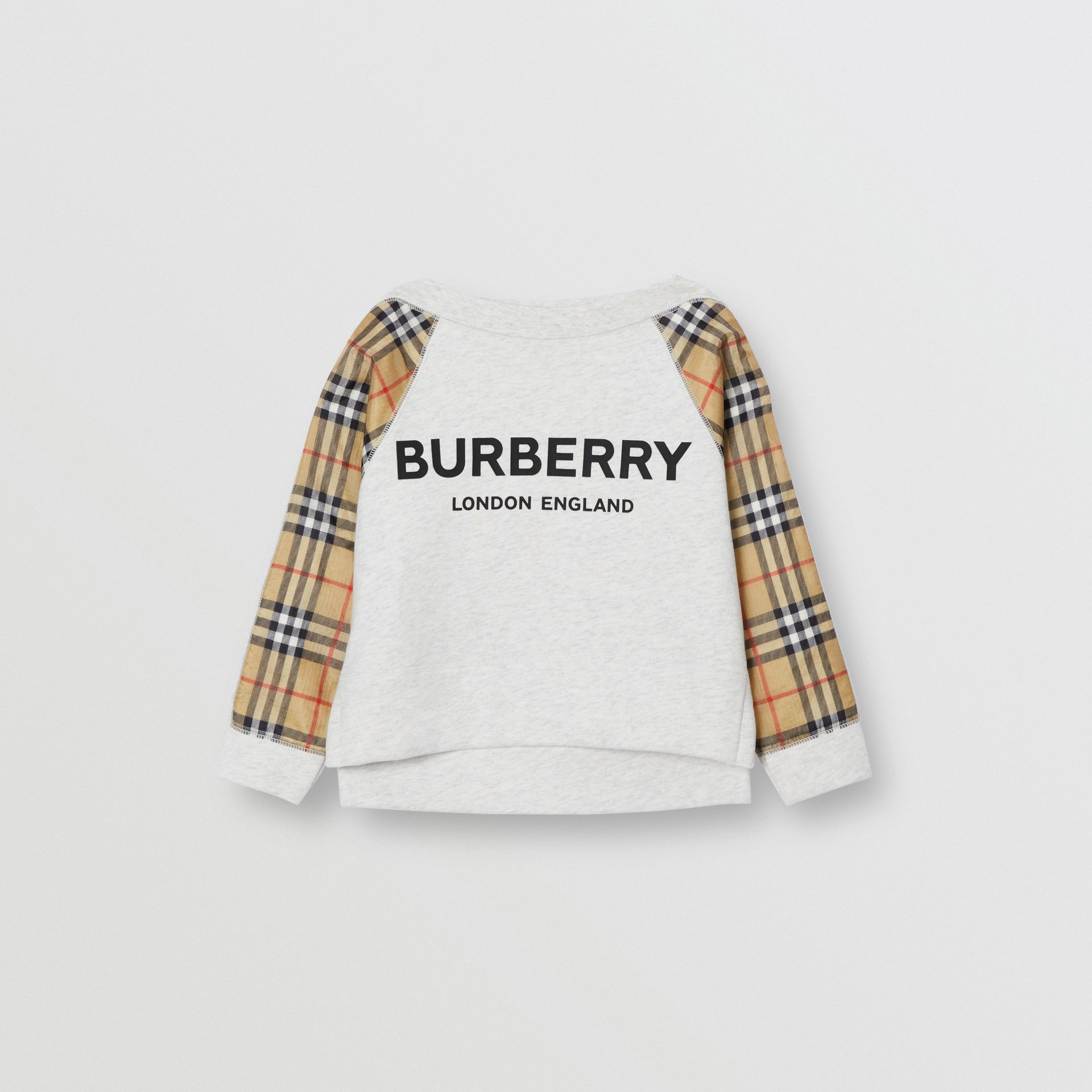 Vintage Check Detail Logo Print Cotton Sweatshirt in White Melange - Children | Burberry - gallery image 0