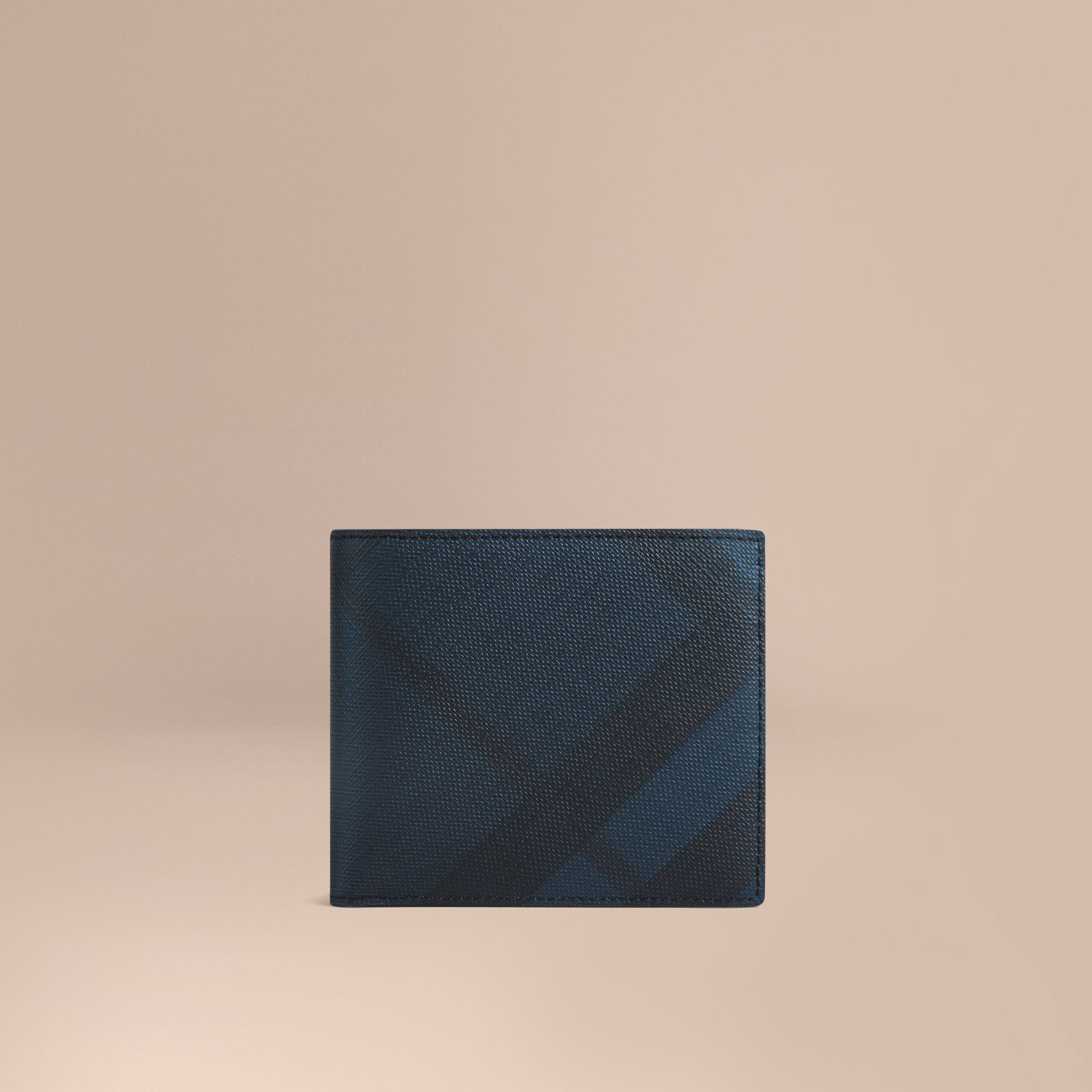 London Check International Bifold Coin Wallet in Navy/black - Men | Burberry Hong Kong - gallery image 1