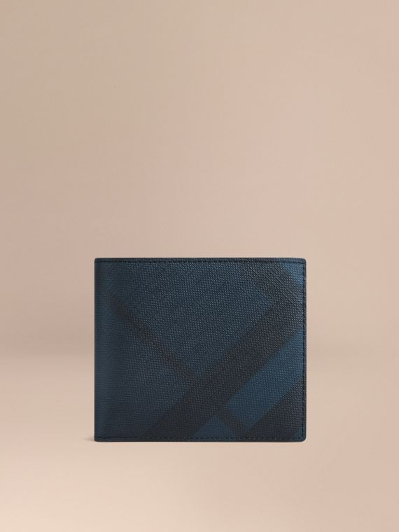 London Check International Bifold Coin Wallet in Navy/black - Men | Burberry
