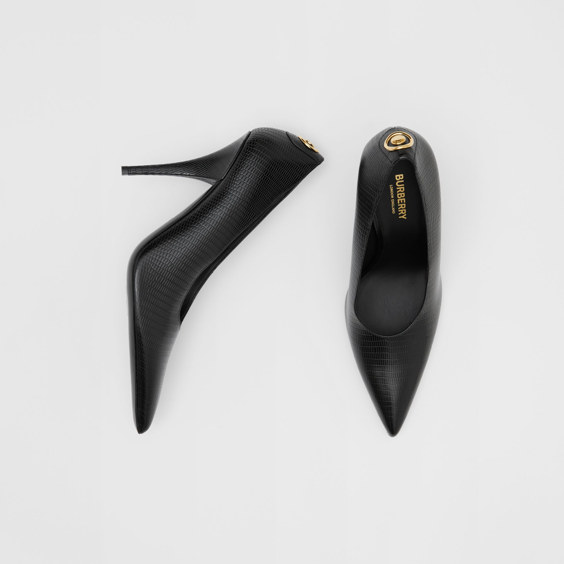 Stud Detail Embossed Leather Point-toe Pumps in Black - Women | Burberry Hong Kong S.A.R - gallery image 0