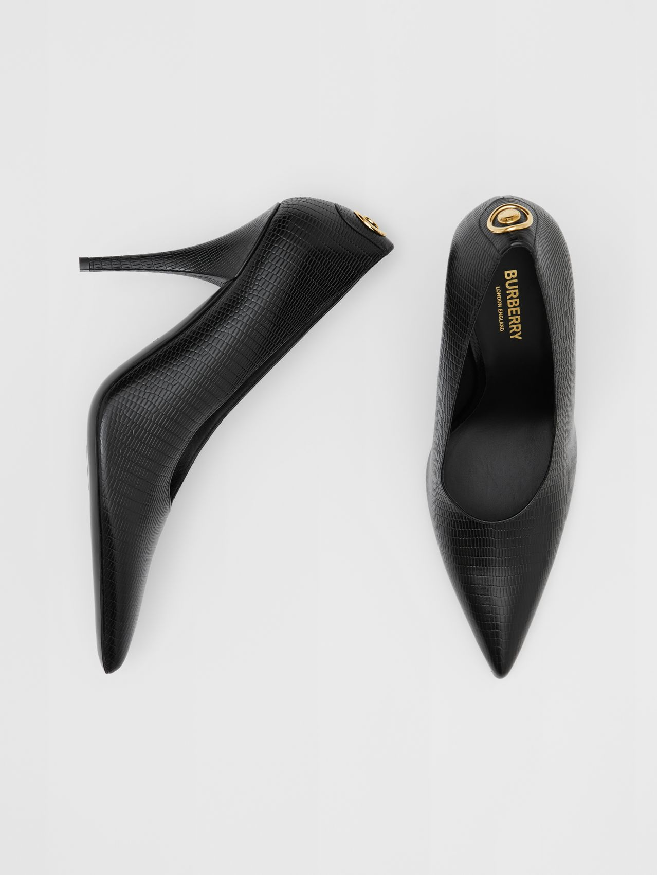 Stud Detail Embossed Leather Point-toe Pumps (Black)