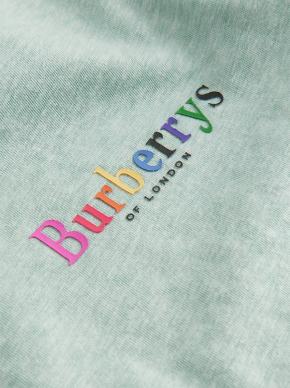Archive Logo Print Jersey T-shirt in Mint | Burberry United Kingdom - cell image 1