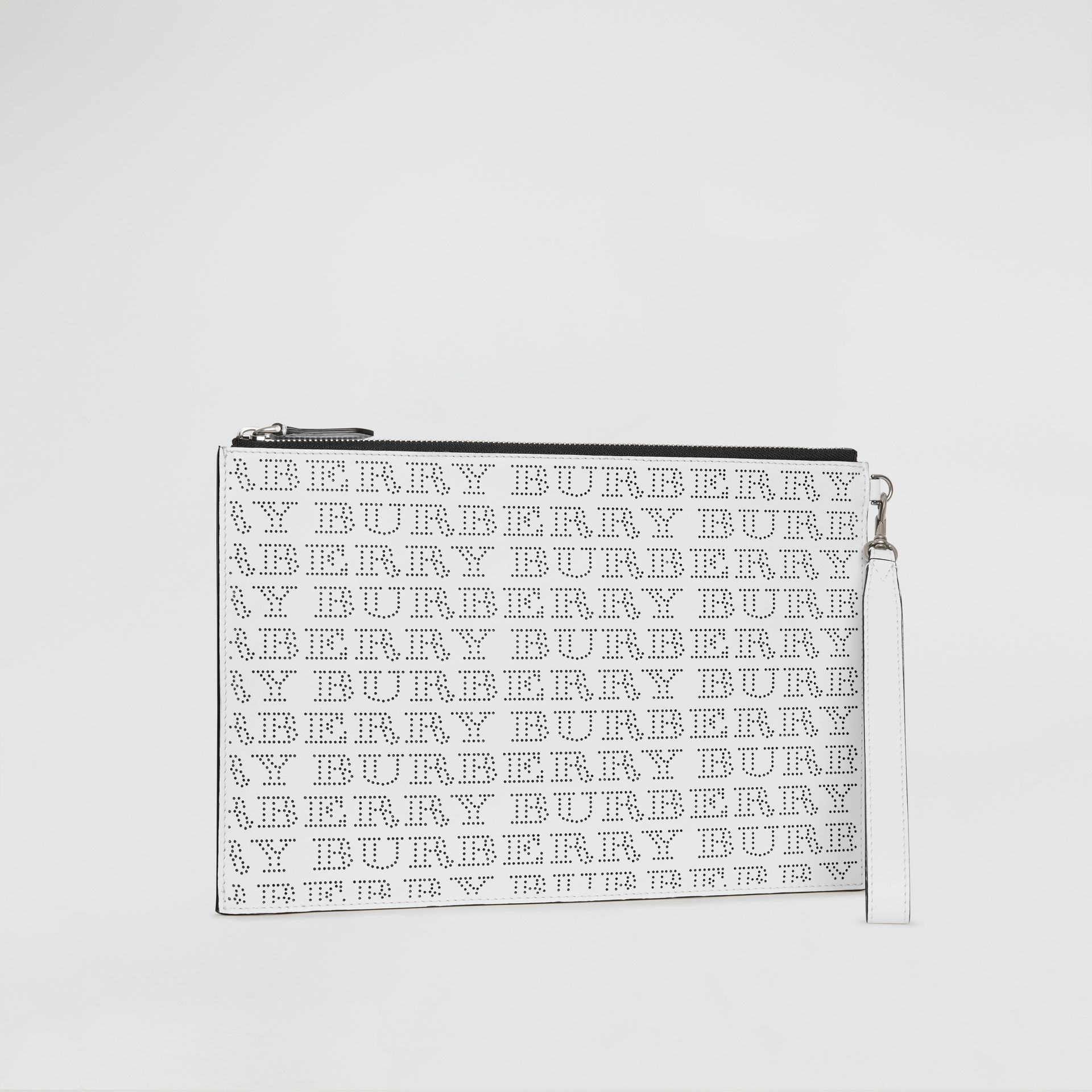 Perforated Logo Leather Zip Pouch in Optic White | Burberry Australia - gallery image 6