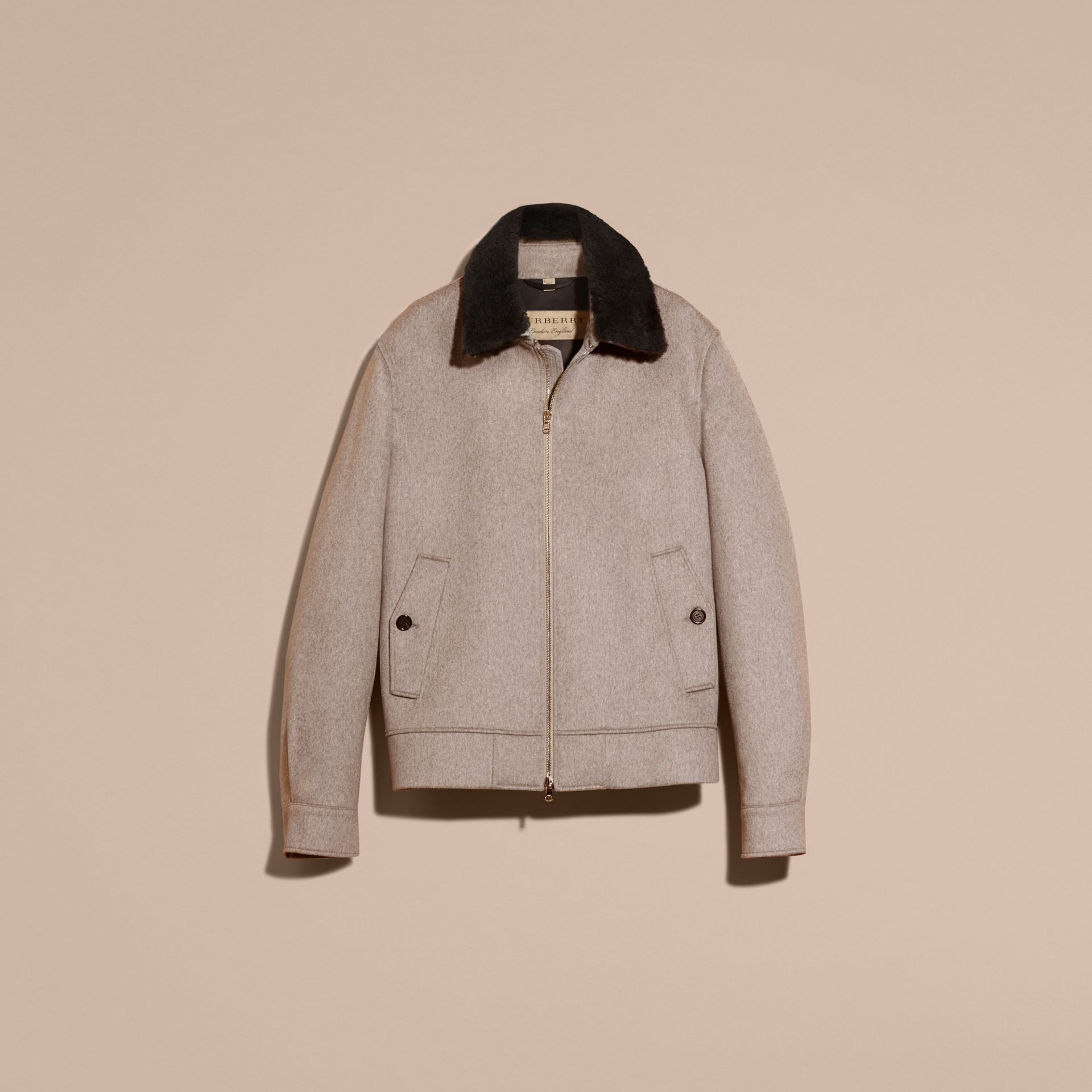 Pale grey melange Cashmere Jacket with Detachable Shearling Collar - gallery image 4