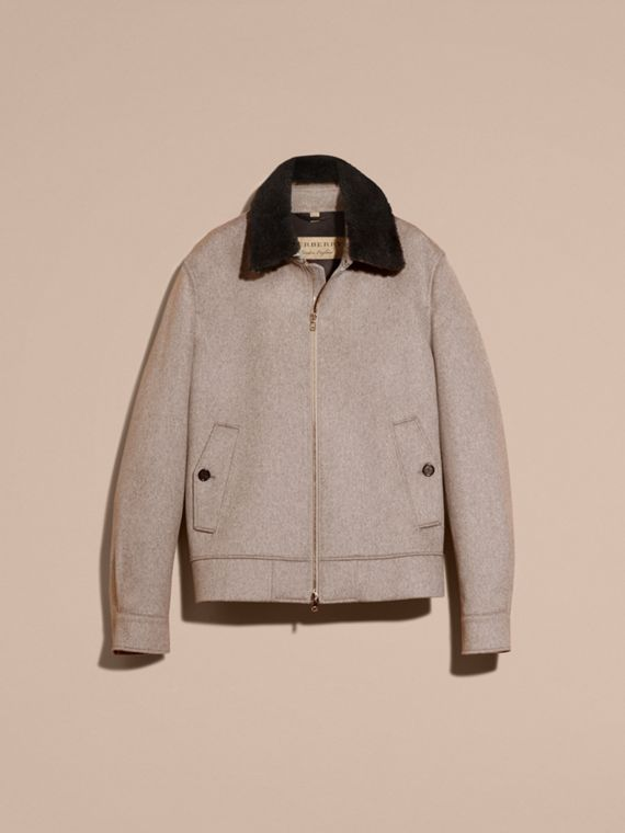 Pale grey melange Cashmere Jacket with Detachable Shearling Collar - cell image 3