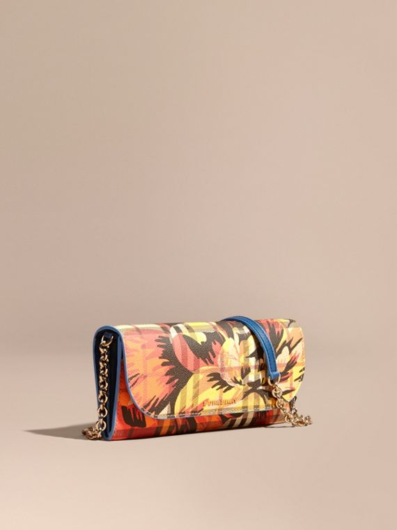 Peony Rose Print Haymarket Check Wallet with Chain Mineral Blue/vibrant Orange