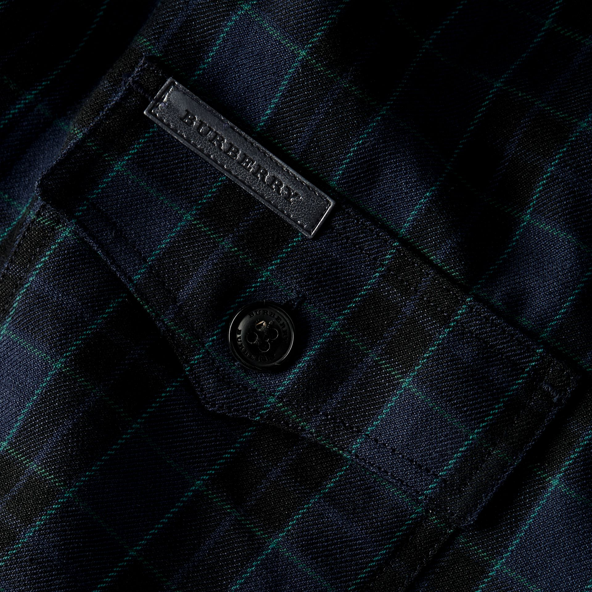 Bright navy Black Watch Check Wool Blend Shirt Bright Navy - gallery image 2